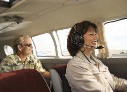 Airplane pilot and passenger